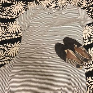 Black and white striped TOMS